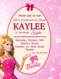 Barbie Birthday Party Invitation Template Flyer (US Letter)