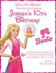 Barbie Kids Birthday Invitation Template
