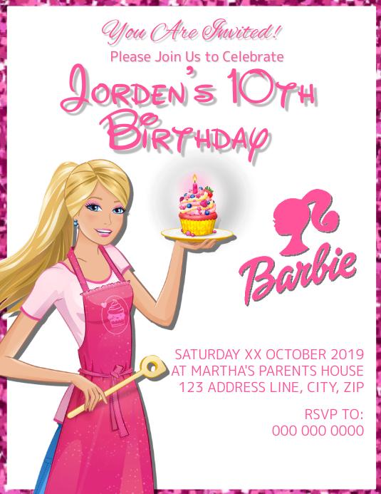 Barbie Kids Birthday Invitation Template