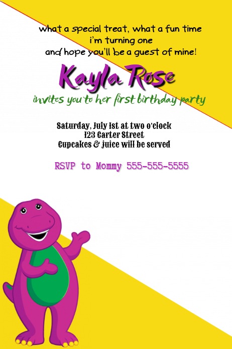 Barney Party Invitation Template  Postermywall