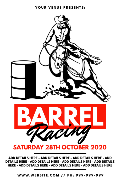 Barrel Racing Poster Cartaz template