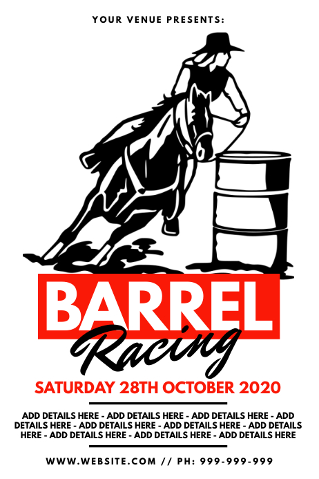 Barrel Racing Poster Plakat template
