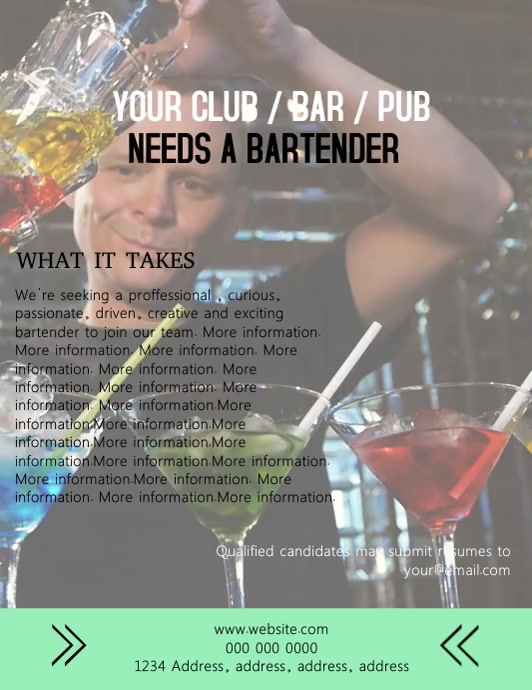 Bartender Wanted Video Flyer Template 传单(美国信函)