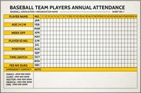 Baseball Attendance Sheet Template Banner 4' × 6'