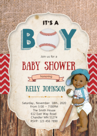 Baseball baby shower elephant invitation
