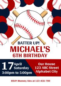Baseball Birthday Invitation A4 template