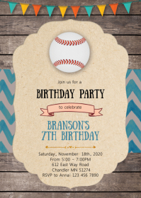 Baseball birthday party invitation A6 template