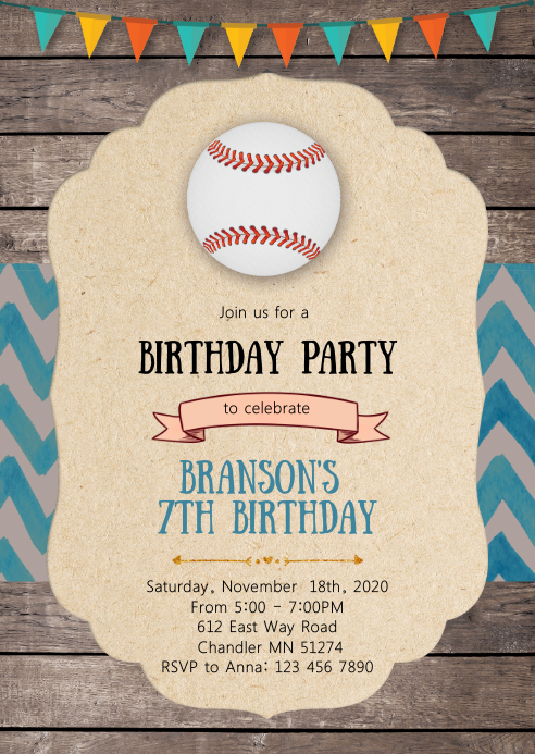 Baseball birthday party invitation A6 template