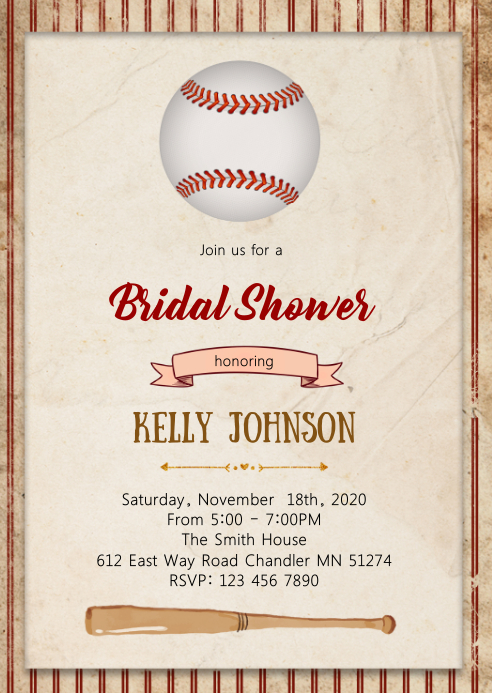 Baseball bridal shower party invitation A6 template