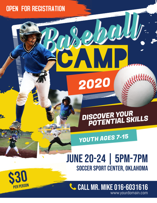 Baseball Camp Flyer Poster Folheto (US Letter) template