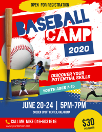 Baseball Camp Flyer Poster template