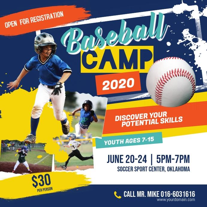 Baseball Camp Poster Instagram Instagram-opslag template