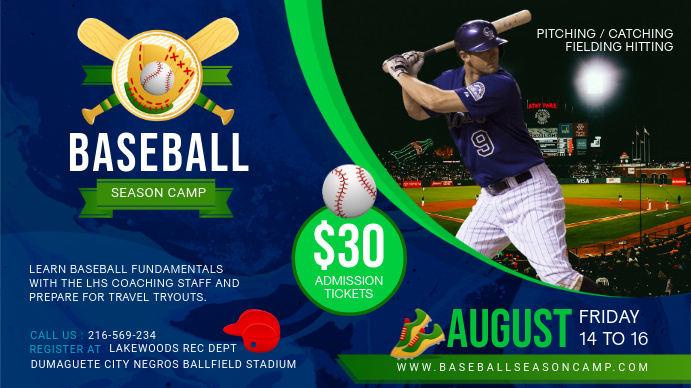 Baseball Camp Registration Display Banner Tampilan Digital (16:9) template