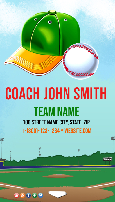 Baseball Trainer Visitenkarte Vorlage Postermywall