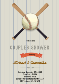Baseball couples shower invitation