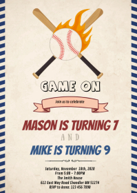 Baseball double birthday invitation A6 template