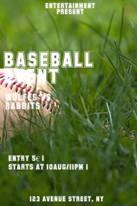 Baseball event flyer template