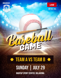 Baseball Game Flyer Poster Рекламная листовка (US Letter) template