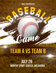 Baseball Game Flyer Poster Løbeseddel (US Letter) template