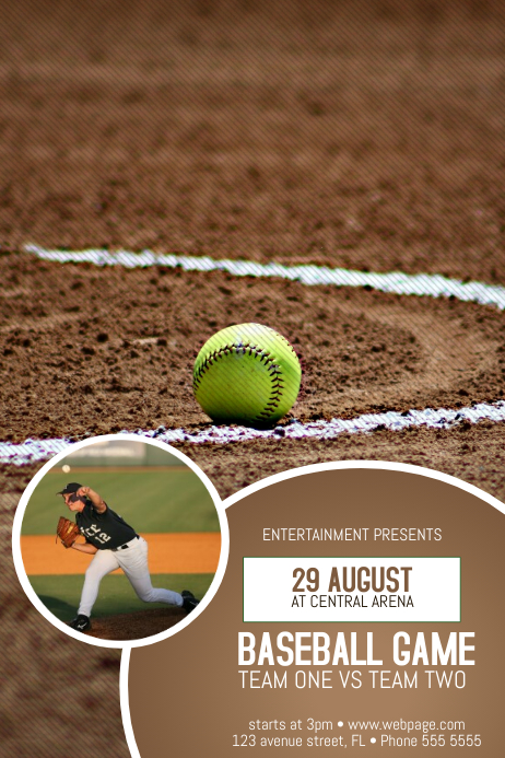 baseball game poster flyer template