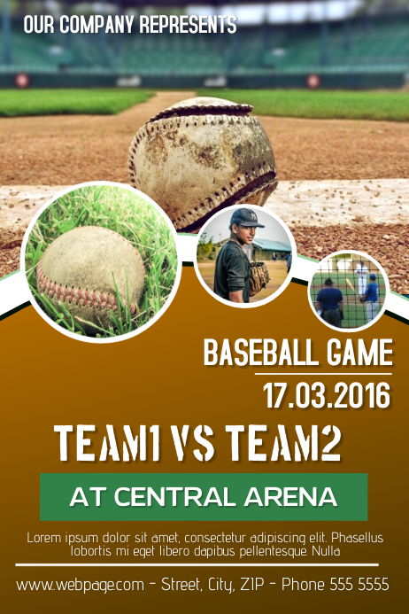 baseball game flyer template Cartaz