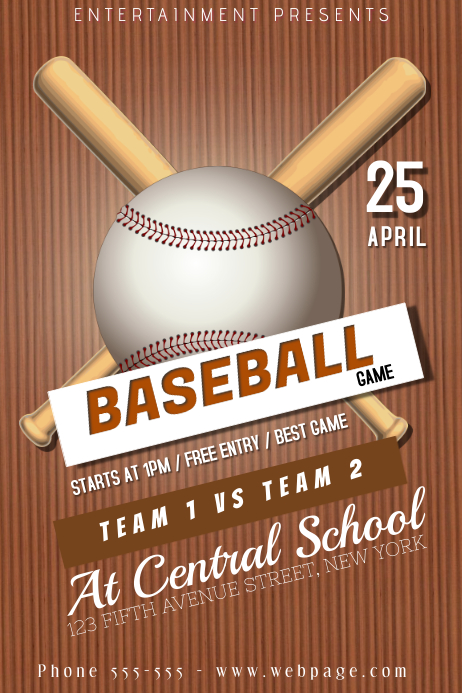 baseball game league flyer poster template