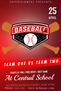 baseball game league flyer poster template red