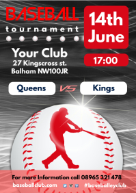 Baseball Game Poster A4 template
