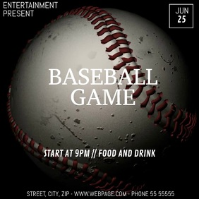 Baseball game video flyer template Square (1:1)