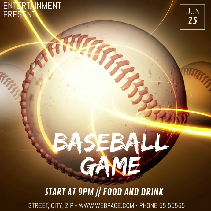 Baseball game video flyer template