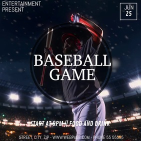 Baseball game video flyer template