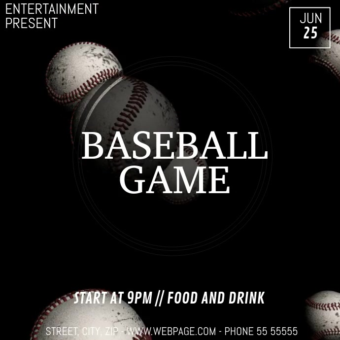 Baseball game video flyer template Persegi (1:1)