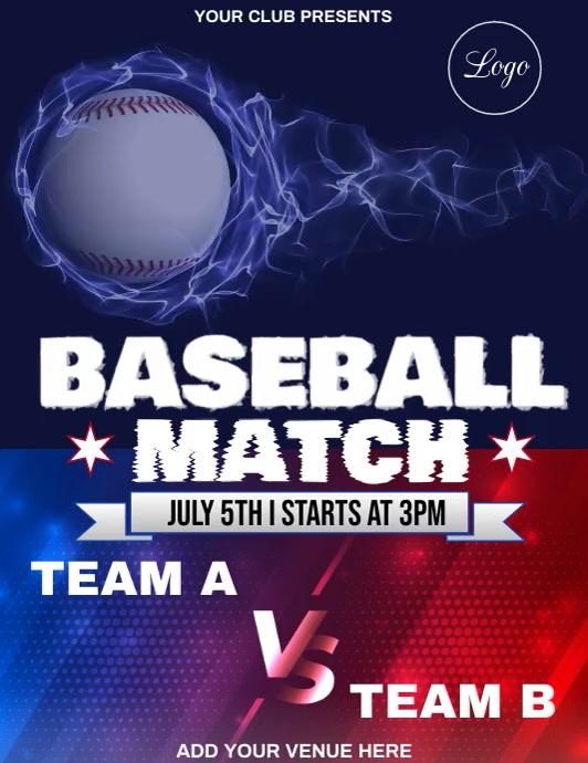 Baseball Match Flyer Template Pamflet (Letter AS)