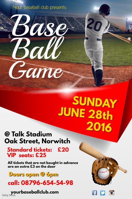 Baseball Match Invitation Plakat template