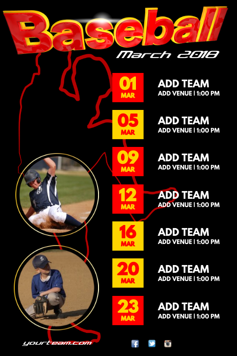 A4 Baseball Match Schedule Poster