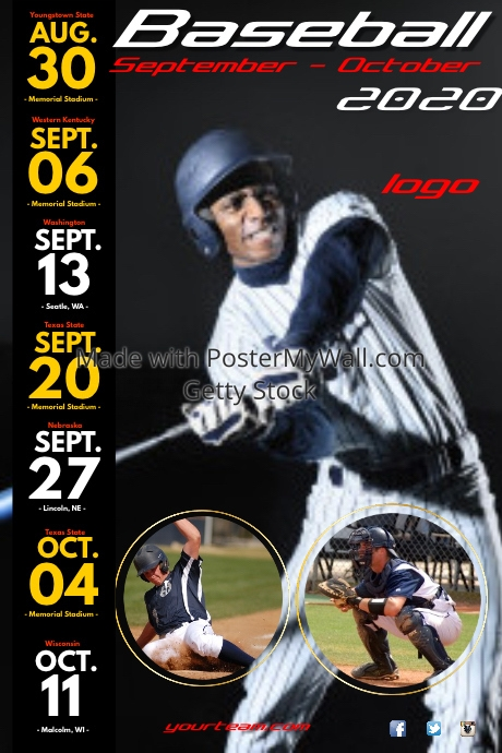 baseball match schedule poster template postermywall