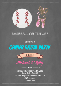 Baseball or tutus gender reveal card