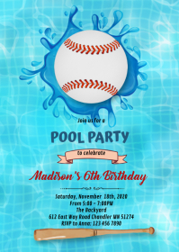 Baseball Pool Party invitation A6 template
