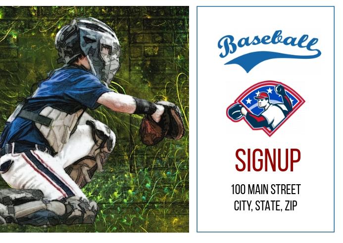 Baseball Signup Postcard template