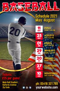 Baseball Team Schedule Poster template