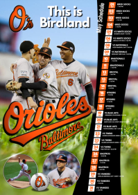 Baseball Team Schedule A3 template