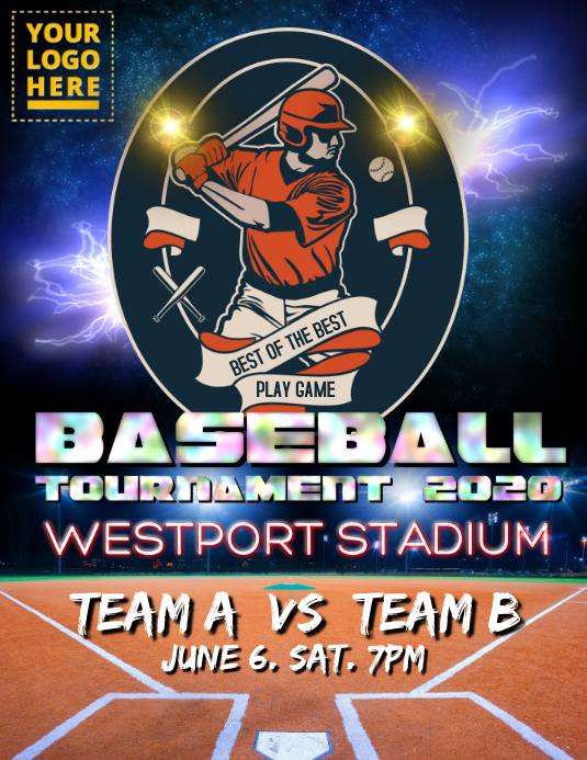 Baseball Tournament 2020 Flyer (Letter pang-US) template