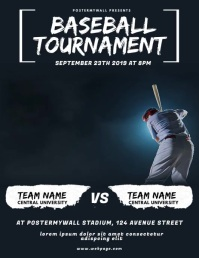 Baseball Tournament Flyer Video Design Pamflet (Letter AS) template