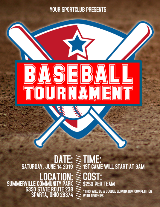 baseball tournament flyer template postermywall