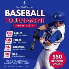 Baseball Tournament Schedule Video Invitation Square (1:1) template