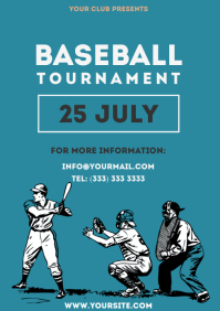 Baseball Tournament simple colorful flyer 2 A4 template