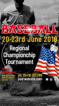 Baseball Tournament Template Цифровой дисплей (9 : 16)