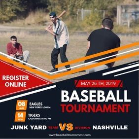 Baseball Tournament Video Template Persegi (1:1)
