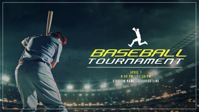 Baseball Tournaments Video Ad Видеообложка профиля Facebook (16:9) template