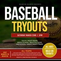 Baseball tryouts Publicação no Instagram template